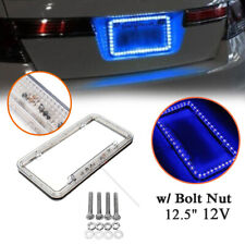 "12V Car Rear 12.5"" License Plate Frame LED w/ Bolt Nut 54 LED Blue Light Front"