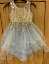 GIRLS PARTY DRESS BY MONSOON AGE 7 STUNNING GOLD SEQUIN PALE BLUE CHIFFON SKIRT