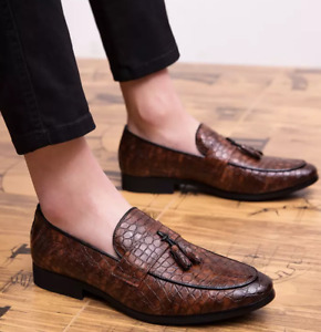 Men's Alligator Tassels Oxfords Dress Formal Business Loafers Retro Casual Shoes