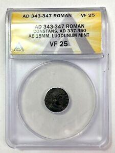 343-347 Roman Constans, AD 337-350 Æ 15mm, Lugdunum Mint ANACS VF 25
