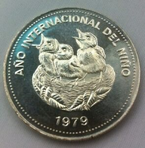 1979 COSTA RICA 100 COLONES - INT. YR. of CHILD / BIRDS IN NEST - 1 Oz BU SILVER