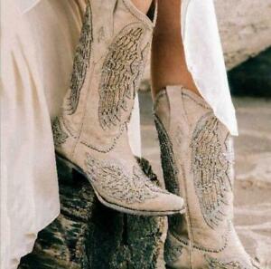 Womens New Fashion Diamante Block Heel Mid Calf Cowboy Western Boots Shoes DIWB