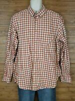 Eddie Bauer Relaxed Fit Orange Checkered Button Front Shirt Mens sz Large L EUC