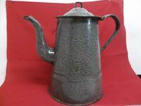 "Vtg Gooseneck Gray Speckled Enamel Graniteware Coffee Pot 9 1/2"" Tall Hinged Lid"