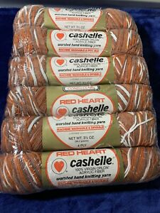 Vintage and Discontinued Red Heart Cashelle Yarn!  LOT of 6! Beautiful!