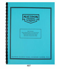 Mattison Horizontal Surface Grinders Parts Manual # 497