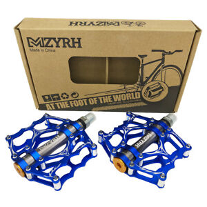 Blue BMX Road CNC Aluminum Bicycle Pedals Platform w/Cleats Sealed Bearings Bike