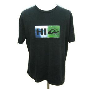 QUIKSILVER Men's (Size XL) Black Short Sleeve Graphic Hawaii Logo T-Shirt Cotton