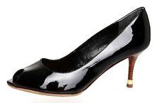 1e5a79d1528e Tory Burch Slip On Peep Toe Patent Leather Pump Black Women Sz 9 M 1047