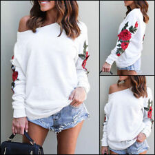 UK Women Off Shoulder Long Sleeve Floral Blouse Pullover Baggy Tops Casual Shirt