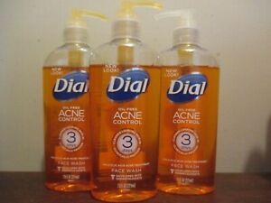 Lot of 3 Dial Oil Free Acne Control Liquid Face Wash 7.5oz - DISCONTINUED