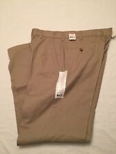 NWT Men's George Plain Flat Front Khaki 32x32 Color Barley Classic Fit Easy Care