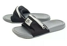 Nike Benassi JDI Fanny Pack Zipper Pocket Slides Sandals BLACK GREY SZ 7