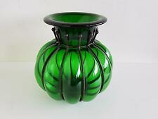 Große Kürbisvase m. Metallmontur mundgeblasenes grünes Glas 20.Jh. H 26 cm