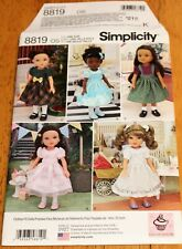 Simplicity Pattern #8819 Doll Outfit 18 Inch New 5 Cupcake Cutie Pie - Dresses