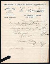 ▬► COMMENTRY  (03) Hôtel Café Restaurant  G.SIMONET en 1918