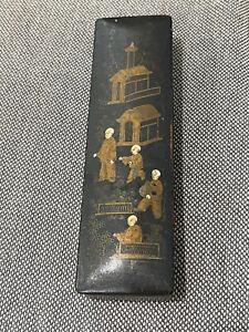 Antique Asian Black Lacquer Pen Box w/ Figures & Building Decoration