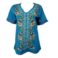 MISSLOOK Blue Multicolored Embroidered Short Sleeve Top Womens Size M Medium