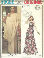 1974 Vintage VOGUE Sewing Pattern B36 EVENING DRESS & TOGA (1672) By LANVIN