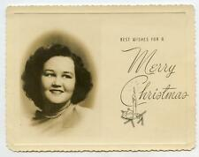 Pretty Girl Portrait Personalized Vintage 1950s Photo Christmas Greeting Card