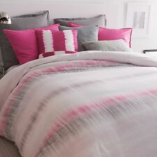 DKNY Frequency Full/Queen Duvet Cover, Multi Stripe Pink/Grey Abstract