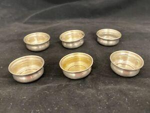 Set 6 Open Salt Cellars Sterling Silver 01 Baker Manchester Vintage Hollowware