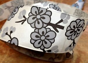 """Vintage Lotus Blossom French Ribbon 1.5"""" Flowers 1yd Made in France"""