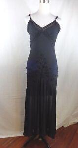 ASPEED DESIGN EMBELISHED BEADED BLACK LACE SLIP FORMAL GOWN DRESS SIZE M