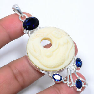 "Mermaid Clay & Blue Sapphire Handmade 925 Sterling Silver Pendant 3.12"" F2583"