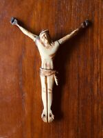 Antique French 18th Bone Crucifix Christ Jesus Cross Christian Relic Holy Jansen