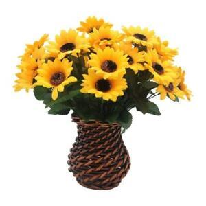 Sunflower Artificial Flower Floral Rattan Vase Home Decor Office Gift Kitchen