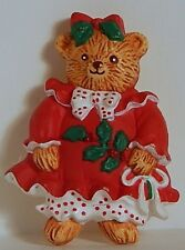 Vint Hallmark Christmas Lady Bear Brooch Holly