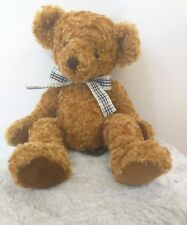"""Russ KEMBELL Golden teddy bear stitched nose Burberry Plaid Bow supersoft 14"""""""