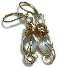Moonstone Earrings 14K Gold Filled - Rainbow for Women or Men Jewelry 108G2-7 Z