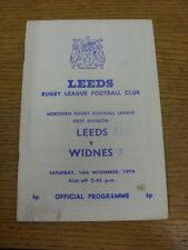 16/11/1974 programma Rugby League: Leeds V Widnes (angolo piegato, MACCHIATI, SQUADRA