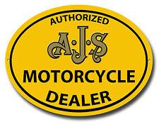 AUTHORIZED AJS MOTORRAD DEALER OVAL METALL SCHILD. VINTAGE MOTORCYCLES