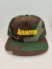 Vintage USA MADE Aermotor Camo Hunting Trucker Hat Snapback Cap NOS NWOT
