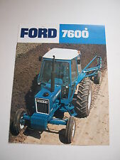 Ford 7600 Tractor w/ Cab Color Brochure 8 pg. original vintage '77 MINT