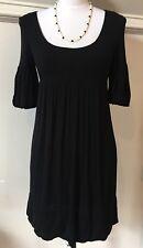 Cache Black Casual Empire Waist Short Sleeve Scoop Neck Dress S