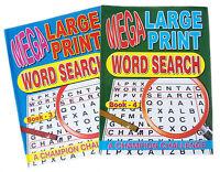 2  Word Search Puzzle Book LARGE Print Quiz Puzzle Books Brain Challenge IQ 3&4