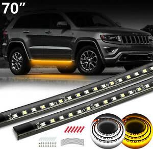 "70"" Running Board Side Step LED Light Bar Turn Signal DRL Strip For Chevrolet"