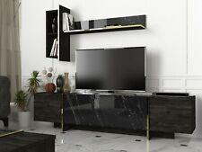 Wohnwand Braun Grau Wohnzimmerregal  TV Lowboard Marmor Optik Fernsehtisch 4852