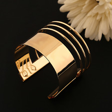 Gold Plated Stainless Steel Open Bangle Hollow Charm Cuff Big Bracelet Jewelry