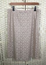 Monsoon Beige A-Line Knee Length Lace Lined Summer Skirt 10/12 Party Wedding Zip