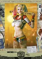 Harley Quinn Suicide Squad SEXY 'Sunset City' DC Comic Signed A3 Print Gotham