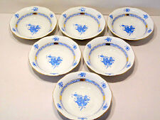 HEREND CHINESE BOUQUET BLUE OATMEALS BOWLS,NEW RETAIL $725.-,BRAND NEW 6pcs.
