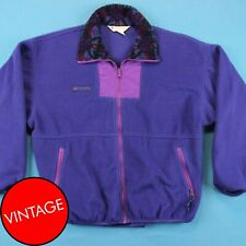 90s COLUMBIA Vintage Jacket ~ Women L │ Purple Fleece Colorful Retro Ski Coat