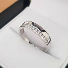 9ct white gold created diamond wedding band ring size N gift boxed free postage