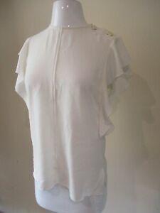 DEREK LAM 10 Crosby ivory bone button  blouse shirt top sz 8