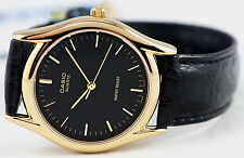 Casio MTP-1094Q-1A Mens Black and Gold Watch Leather Band Analog Quartz New